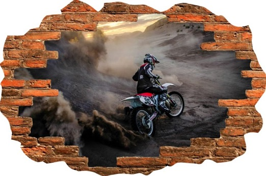 Hd Image Of A Dirt Bike Design 2 Behind Broken Brick Wall