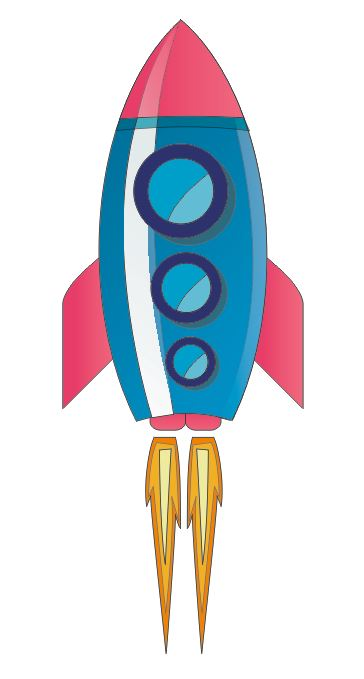 Pink And Blue Rocket Colourfast Graphics